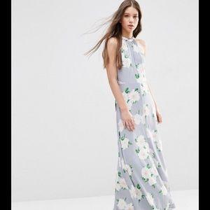 ASOS Open Back Floral Halter Maxi Dress size 2